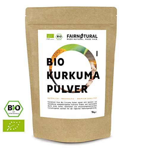 Fairnatural NEU BIO Kurkuma Pulver 1Kg I Reines Curcuma gemahlen mit hohem Curcumin Anteil I Curcuma-Pulver mit erlesener Qualität (1000g)