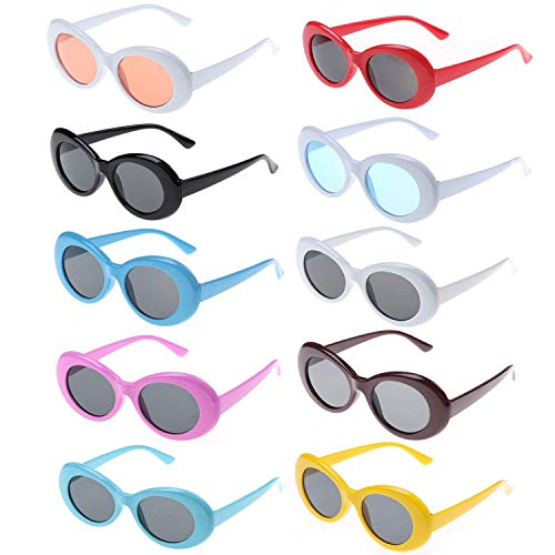 10 Packs Clout Oval Goggles Retro Round Lens Assorted Colors Sunglasses Oval for Adults, Kids