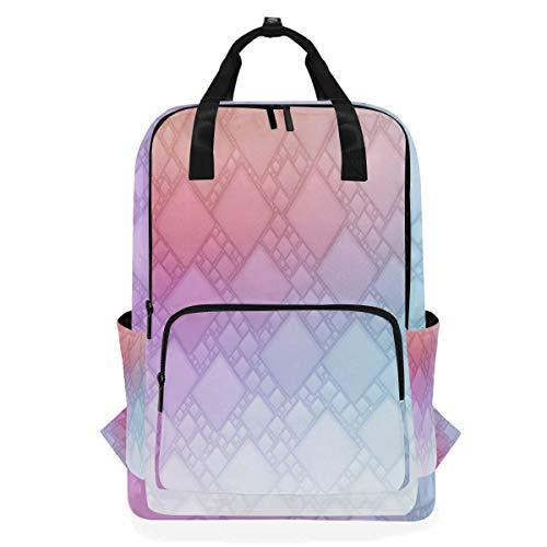 ZOMOY Rucksäcke,Farbverlauf geometrischen Hintergrundbild,Neue lässige Laptop leichte Tagesrucksack Leinwand College School Travel Umhängetasche Camping Klettern Wandern Taschen