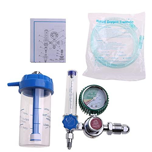 Grbewbonx Reductor de presión O2 con rosca macho G5/8 Tipo de boya Medidor de flujo Medidor de oxígeno Presión de oxígeno Regulador de gas Inhalador