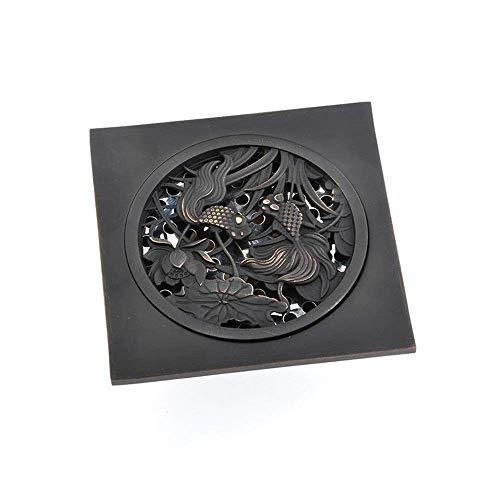 HXCD Bodenablauf Bodenablauf Badezimmer Bodenablauf Große Durchflussregelung Anti-Wasser-Deodorant Bodenablauf Quadratischer Duschablauf Anti-Verstopfungs-Design (Schwarz) Feste Duschköpfe
