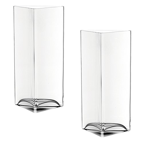Leonardo Centro vaas driehoek, set van 2, bloemenvaas, glazen vaas, tafelvaas, decoratieve ovase, bloempot, glas, 34 cm, 046942