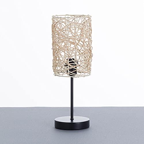 Lámpara de Mesa con Tulipa de Ratán y Base Negra de Metal   Modelo Mei 7hSevenOn Deco   Lámpara de Sobremesa Estilo Boho   Lámpara Interior para Salón Comedor Dormitorio.   13,5x13,5x39,5cm