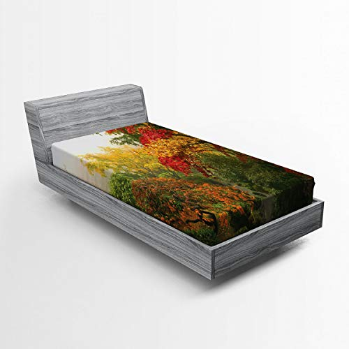 ABAKUHAUS Tuin Hoeslaken, Portland Japan Garden, Zachte Decoratieve Stof Beddengoed, Elastische Band Rondom, 90x 190 cm, Rood Geel Groen