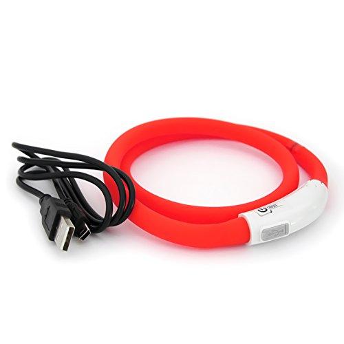 LED USB Silicón Collar Luminoso para Perros, gatas, Mascotas. Recargable vía USB (Tamaño S-L se Puede Cortar Individualmente a 18-65 cm) en Rojo de la Marca PRECORN