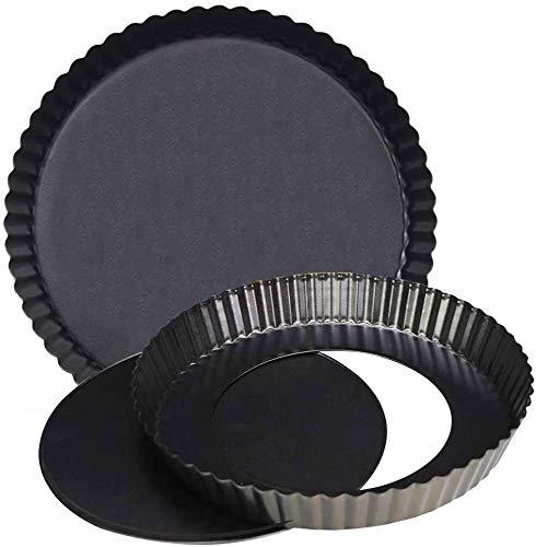 Tarteform und Quicheform, BESTZY Quicheform Pfanne Non-Stick Mit Hebeboden Torte Baking Pan, antihaftbeschichtet, herausdrückbarer Hebeboden Obstkuchenform (20cm & 14cm)