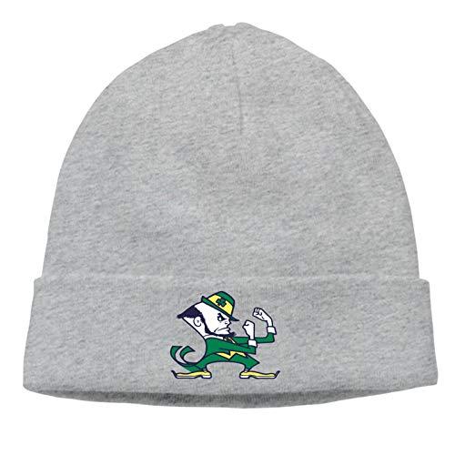 No-TRE Da-me Team Figh-ting I-rish Beanie Hat Knit Beanie Winter Ski Skull Cap for Men Women Gray