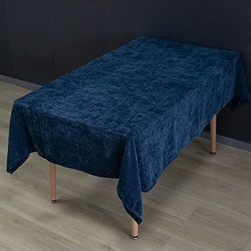 Mantel Mesa Rectangular,Mantel De Color Sólido Simple, Té De Arte De Xue Nilb Varias Cubiertas, Campamento Rectangular-Azul Marino_43.30X43.30In / 110X110Cm