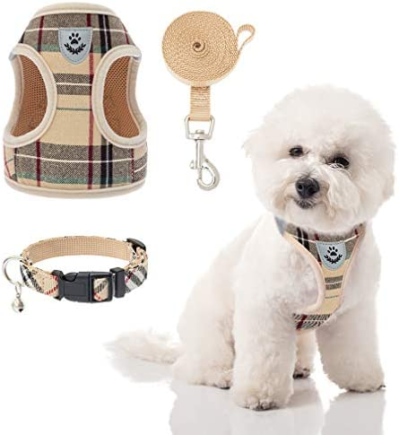 Puppy Harness and Leash Set Dog Collar and Leash for Small Dogs Puppies No Pull Plaid Dog Vest product image