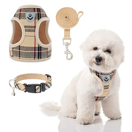 Puppy Harness and Leash Set - Dog Collar and Leash for Small Dogs Puppies, No Pull Plaid Dog Vest Harness for Outdoor Walking