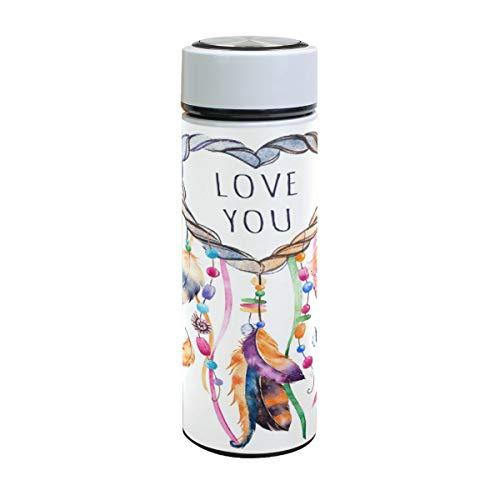 Emoya Botella de agua de acero inoxidable de 500 ml, atrapasueños de acuarela Love You, botella de agua aislada al vacío de colores, sin BPA, a prueba de fugas, doble pared, boca ancha para bebidas frías y calientes, 17 onzas