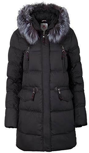 Grimada 6M162 Damen Winterjacke in Daunen-Optik TARORE mit Echtfell (42, schwarz)