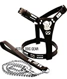 Astile Dog Gear Staffy Harness And Lead Set Leather For Staffordshire Bull Terrier Black And Chocolate Brown With Matching Leather Studded Lead (Brown)