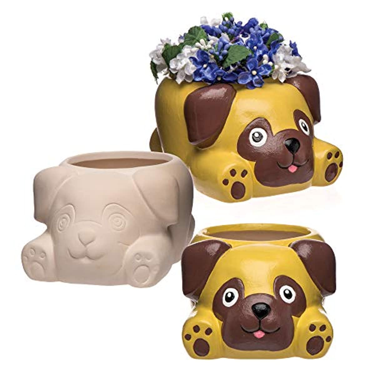 Baker Ross Pug Ceramic Flowerpots (Box of 2) for Kids to Decorate, Personalise and Gift for Mothers Day