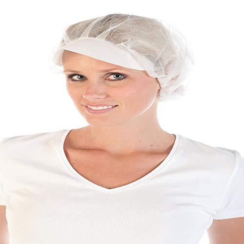 Kochmütze PP-Einweg-Haube mit Schirm, PP-Vlies, Größe Ø48cm, Farbe Weiß, 1000 Stück