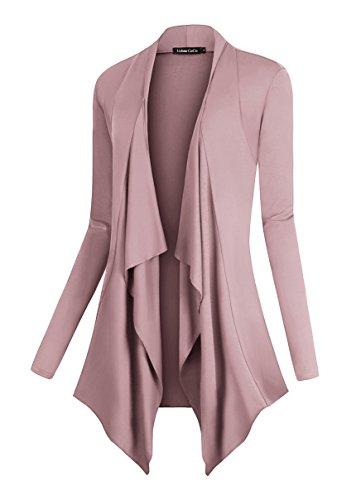 Urban CoCo Women#039s Drape Front Open Cardigan Long Sleeve Irregular Hem Lavender XL