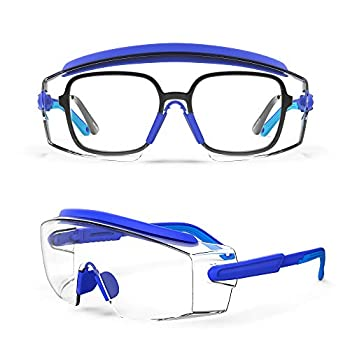 MEIGIX Anti Fog Safety Glasses Safety Goggles Over Glasses Protective Glasses with Anti Scratch Lenses Adjustable Frame And Temples,Clear Glasses,Lab Eyewear Goggles for men & Women Blue 1 Pair