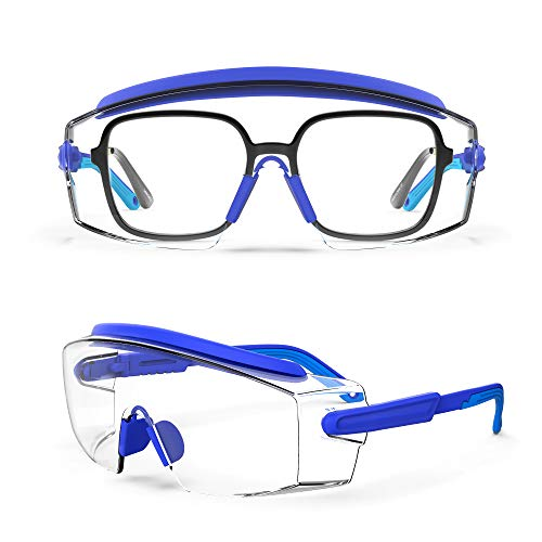 MEIGIX Anti Fog Safety Glasses Safety Goggles Over Glasses Protective Glasses with Anti Scratch Lenses Adjustable Frame And Temples,Clear Glasses,Lab Eyewear Goggles for men & Women(Blue 1 Pair)