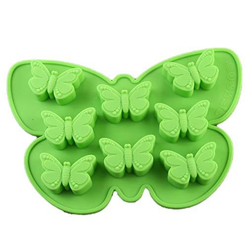 Brookton Molde de silicona con forma de mariposa, fondant, decoración de tartas, cubitos de hielo, hecho a mano, forma de mariposa, molde de cubitos de hielo (verde)