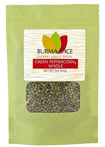 Green Peppercorn, Whole | Mild Peppery Flavor | Ideal for Latin American Recipes Including Meat, Rice, Soups and Hot Beverages 3 oz.