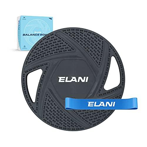 ELANI Premium Balance Board | inkl. Fitnessband & Sportübungen | robuster, rutschfester Ganzkörpertrainer | Balanceboard als Gleichgewichtstrainer | Wackelbrett zur Steigerung von Balance & Fitness