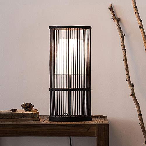 SGWH / natuurlijke, Scandinavische, minimalistische, bamboe houten led-bureaulamp, bamboe led-nachtlampje met uitgeholde vormgeving, stoflampenkap, bamboe houten lampenkap voor slaapkamer, studie, decoratie, geschenk, zwart