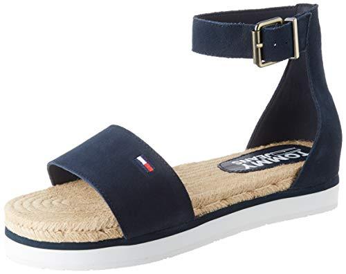 Tommy Hilfiger Natural Rope Sandal, Sandalias Punta Cerrada para Mujer, Azul (Twilight Navy C87), 40 EU