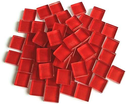 FireAngels - Mattonelle di mosaico in micro vetro, piccole mattonelle di mosaico fai da te per bambini, fatte a mano, con cristalli liberi, 300 g, colore: rosso