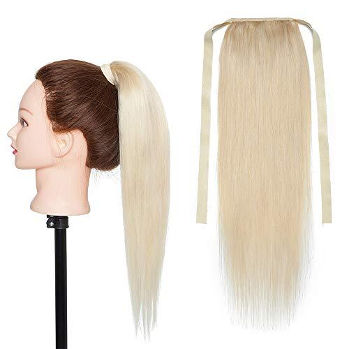 Queue de Cheval Extension Naturel Vrai Cheveux Humain Rajout Lisse - Ponytail Extensions Attaché par Bandeau - #60 BLOND PLATINE - 14 Pouce 35cm