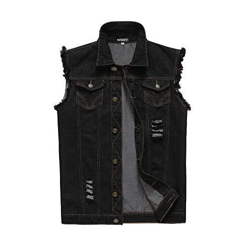 NASKY Men's Fit Retro Ripped Denim Vest Sleeveless Jean Vest and Jacket (US Large, Black)