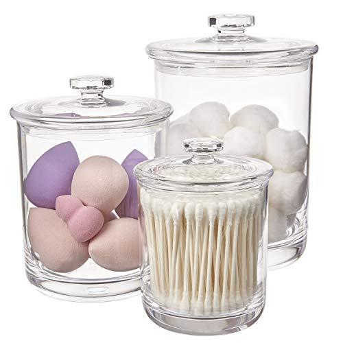 STORi Premium Quality Clear Plastic Apothecary Jars | Set of 3