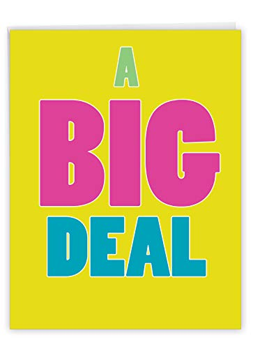 A Big Deal All Occasion Greeting Card with Envelope 8.5 x 11 Inch - Large Blank Congratulations Card for a Holiday, Party, Celebration - Big Bold Letters, Yellow Appreciation Card Jumbo Sized J1430K