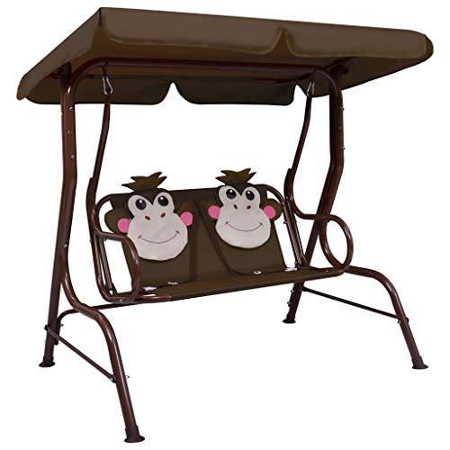 HUANGDANSP Banco balancín para niños Tela marrón 115x75x110 cm Casa y jardín Jardín Artículos de Exterior Balancines de jardín