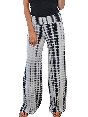 MsLure Damen Pyjama Tie Dye Hosen Boho Lang Weites Bein Sommerhose Freizeithose Yogahosen Mit Elastischem Bund Weiß M