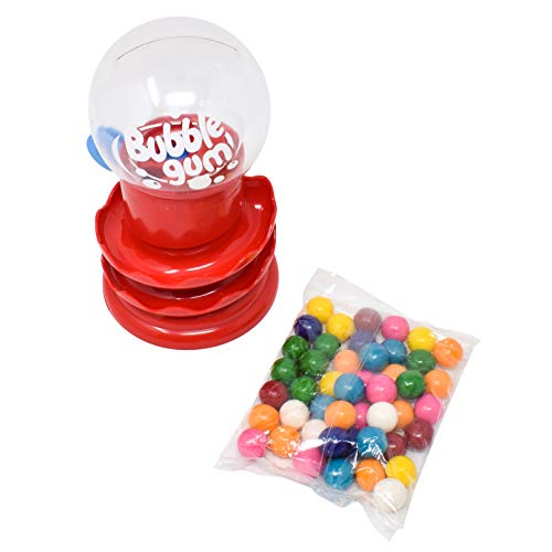 Sunny Days Entertainment Classic Gumball Bank with Gumballs - Spiral Style Bubble Gum Mini Candy Dispenser   Coin Money Bank for Kids - Receive Red or Yellow Machine Colors May Vary