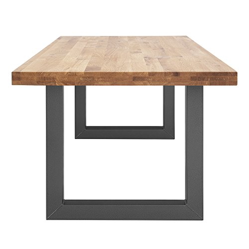 COMIFORT NRUBG - Mesa de Comedor Oficina Moderna Industrial Loft de Roble Macizo 180 x100 cm Patasde Acero en Grafito (180X100)