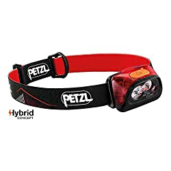 PETZL - ACTIK CORE Headlamp, 350 Lumens, Rechargeable, with CORE Battery, Red