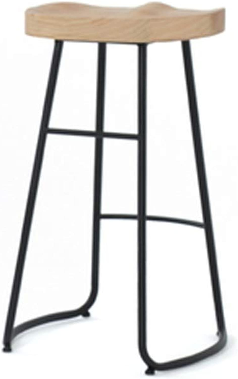 Barstool Bar Stool, Simple Modern Solid Wood high stools Cafe bar Wrought Iron 3 Sizes (Size   65CM)