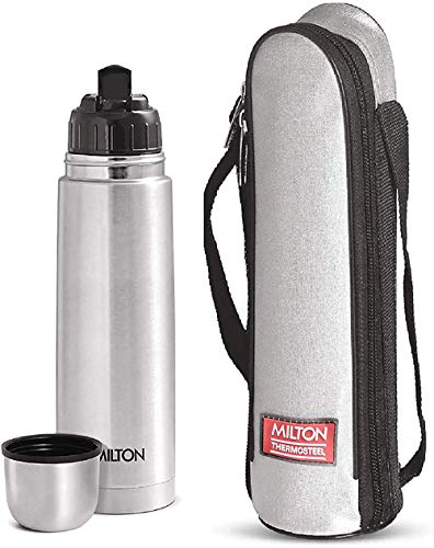 Milton Flip Lid 1000 Thermosteel 24 Hours Hot and Cold Water Bottle with Bag, 1 Litre, Silver
