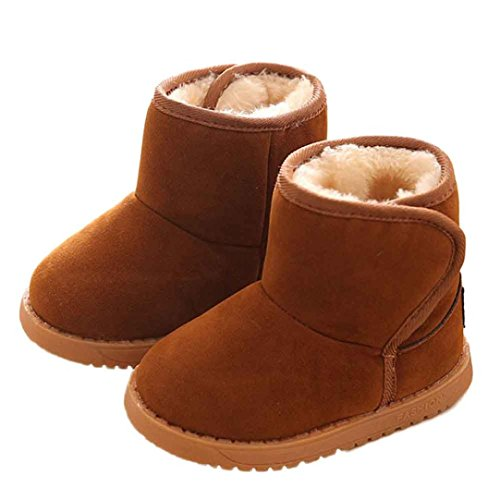 Voberry Baby Toddler Kids Children Girls Boys Winter Warm Boot Fur Lined Outdoor Snow Boots (Brown, 1~2Age)