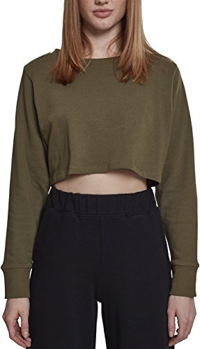 Urban Classics Damen Crop Pullover Ladies Terry Cropped Crewneck - Farbe olive, Größe XS