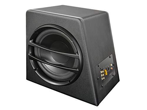 AXTON AXB20A – 20 cm / 8 Zoll Aktiv-Subwoofer, kompakte Auto Bassbox mit Verstärker, Basskiste mit High Level Eingangen, auch für Reisemobile, 140 Watt