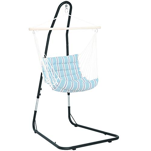 Best Choice Products Adjustable Weather-Resistant Metal Curved Hammock Chair Swing Stand w/Rubber Feet and Galvanized Steel Hook, Black