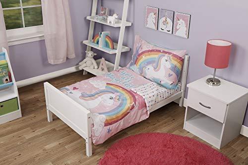 Funhouse 4-teiliges Kleinkind-Bettwäsche-Set – inklusive gesteppter Schmusetuch, Spannbetttuch, Bettlaken und Kissenbezug – Einhorn-Design für Mädchenbett