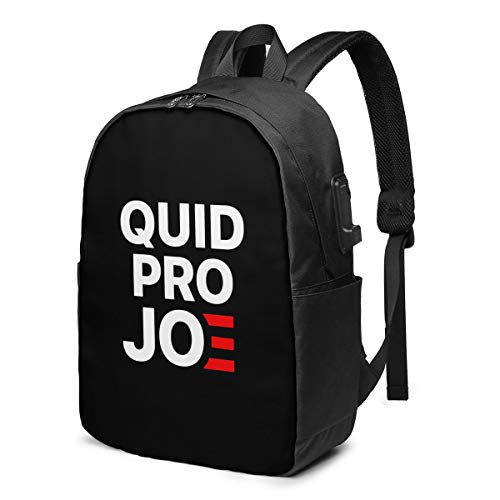 Quid Pro Joe Anti Joe Biden 2020 Funny Laptop Backpack with USB Charging Port, Business Bag, Bookbag | Fits Most 17 Inch Laptops and Tablets