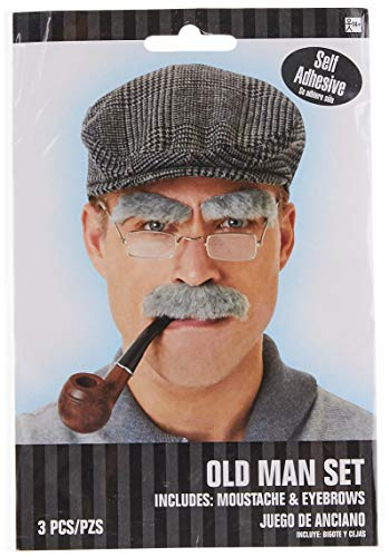 amscan 840999 Gray Old Man Moustache and Eyebrows Set