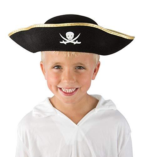 P'TIT CLOWN 24700 Chapeau Feutre Pirate Enfant avec Galon - Or/Noir