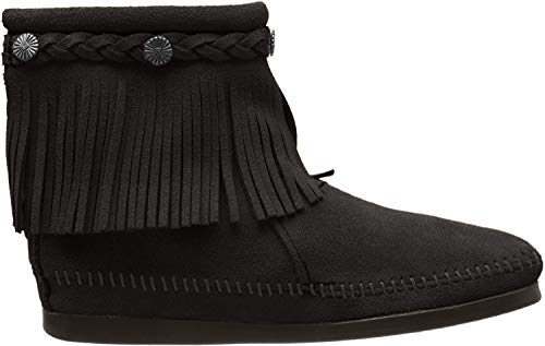 Minnetonka Women's High Top Back Zip Boots 8 M Black