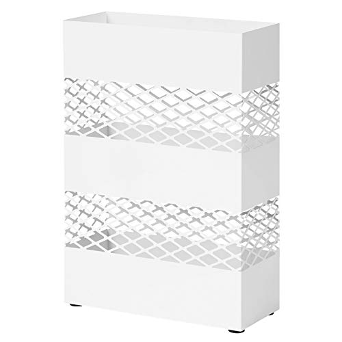 SONGMICS Paragüero de Metal, Paragüero Rectangular, 28 x 12 x 41 cm, con Recipiente de Agua, Diseños Calados, Blanco LUC02WT