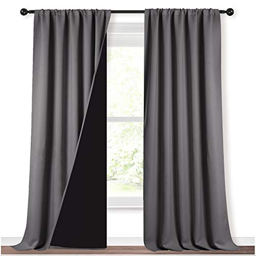 NICETOWN 108 inch 100% Blackout Curtains, Laundry Room Decor Window Treatment Rod Pocket Curtains for Patio Sliding Door, Extra Long Thermal Insulated Curtains for Villa (Grey, Set of 2, 52-inch)